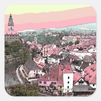 Rosa Stadt Quadratischer Aufkleber