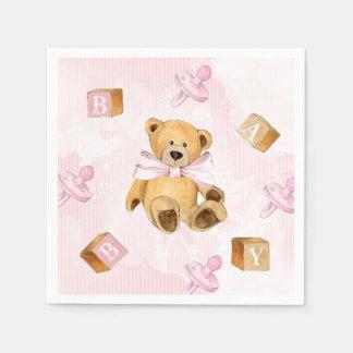 Rosa Streifen und Teddybär-Babyparty Papierserviette