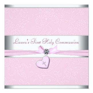 Rosa Strudel-Herz-Rosa-Kreuz-erste Kommunion Quadratische 13,3 Cm Einladungskarte