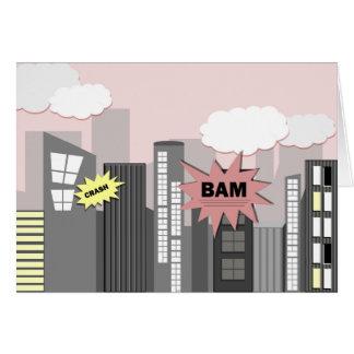 Rosa Superheld-Stadt Grußkarte
