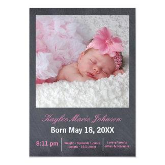 Rosa Tafel-Foto - Geburts-Mitteilung 12,7 X 17,8 Cm Einladungskarte