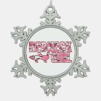 Rosa Tarnungs-Redneck-Mädchen-Weihnachtsverzierung Schneeflocken Zinn-Ornament