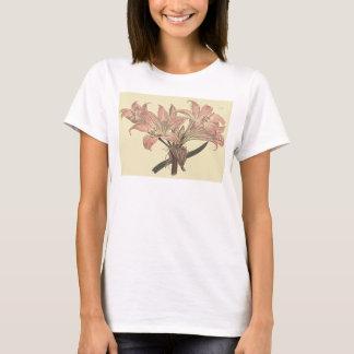 Rosa Tollkirschen-Lilien-botanische Illustration T-Shirt