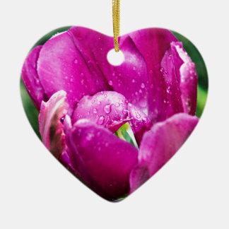 Rosa Tulpe mit Wassertropfen Keramik Ornament
