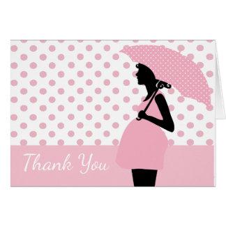 Rosa Tupfen-Regenschirm-Babyparty danken Ihnen zu Karte