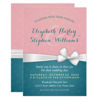 Rosa Türkis-laden weißer Band-Polterabend ein 12,7 X 17,8 Cm Einladungskarte