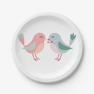 Rosa u. blaue Lovebirds - Hochzeit, Brautparty Pappteller