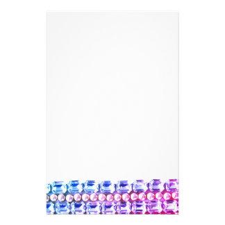 Rosa u. blaue Rhinestones und Perlen Briefpapier