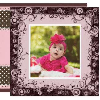 Rosa u. Brown-Baby-erste Geburtstags-Einladung Karte