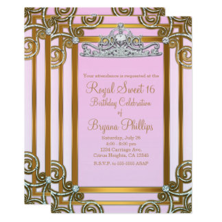 Rosa-u. Goldprinzessin-Crown Tiara Sweet 16 Party Karte