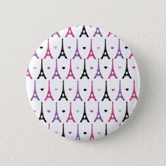 Rosa u. lila Eiffel-Turmmuster Runder Button 5,1 Cm