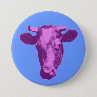 Rosa u. lila Pop-Kunst-Kuh Runder Button 7,6 Cm