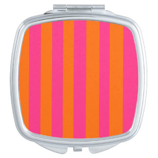 Rosa u. orange quadratischer kompakter Spiegel Schminkspiegel