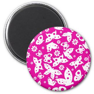 Rosa u. weißer Schmetterlings-Magnet Runder Magnet 5,7 Cm