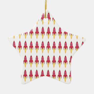 Rosa-u. weißerniedlicher Retro Rocketship Keramik Stern-Ornament