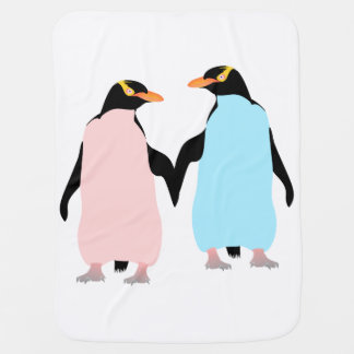 Rosa und blaue Pinguine, die Hände halten Kinderwagendecke