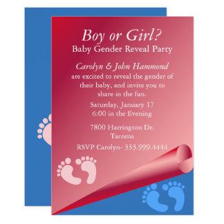 Rosa und blaues Baby-Geschlecht decken Party Karte