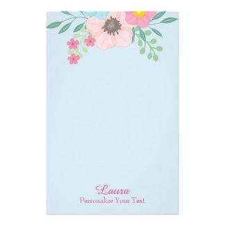 Rosa und blaues Blumen Briefpapier