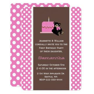 Rosa und erste der Geburtstags-Einladung Karte
