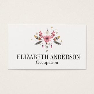Rosa und Gold mit Blumen, Federn und Edelsteine Visitenkarten