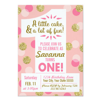 Rosa und Goldconfetti-erste Geburtstags-Einladung 12,7 X 17,8 Cm Einladungskarte