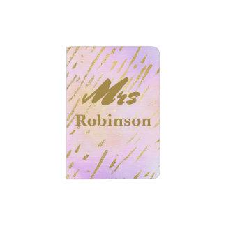 Rosa und Goldfrau Typography Passhülle