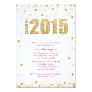Rosa und GoldGlitter-Abschluss-Einladung 12,7 X 17,8 Cm Einladungskarte