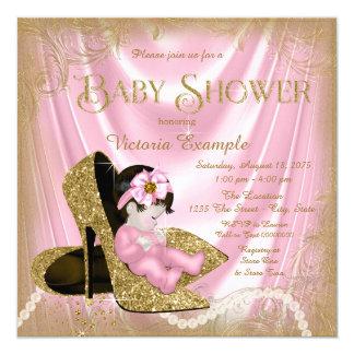 Rosa und GoldGlitter-Schuh-Perlen-Baby-Dusche Karte