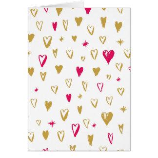 Rosa und Goldhand gezeichnete Herzen Karte