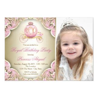 Rosa und Goldkönigliche Prinzessin Foto Birthday Karte