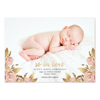 Rosa-und GoldPainterly Rosen-Geburts-Mitteilung 12,7 X 17,8 Cm Einladungskarte