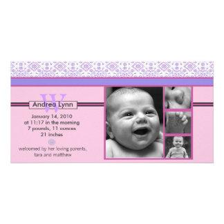 rosa und lila Bandanamuster-Babymitteilung Personalisierte Photo Karte