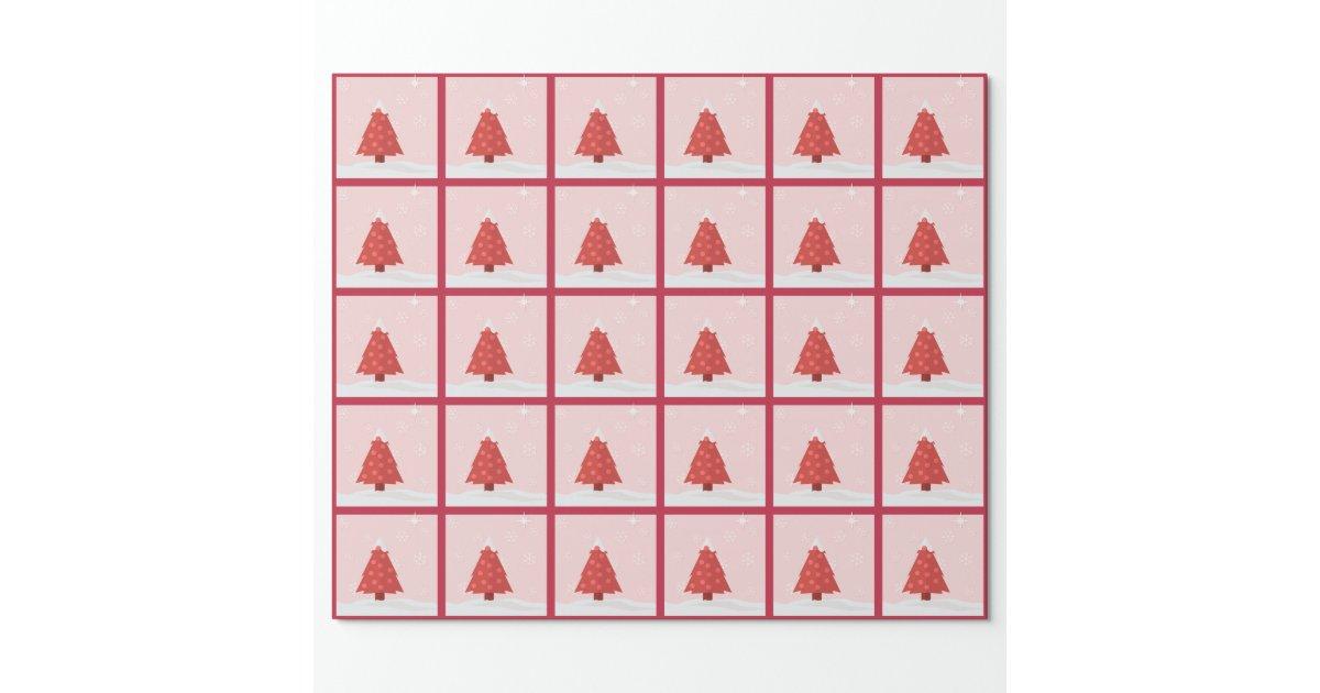 rosa und roter weihnachtsbaum geschenkpapier zazzle. Black Bedroom Furniture Sets. Home Design Ideas