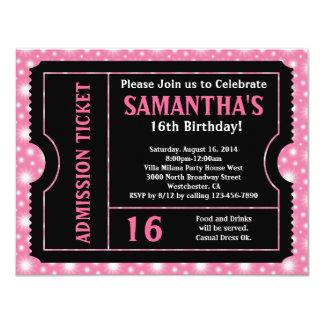 Rosa und schwarze Karte, Alter des Bonbon-16 oder 10,8 X 14 Cm Einladungskarte