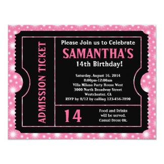 Rosa und schwarze Karten-Einladung, irgendein 10,8 X 14 Cm Einladungskarte