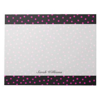 Rosa und schwarzes Confetti-Punkt-Muster Notizblock