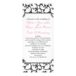 rosa und schwarzes Hochzeitsprogramm Individuelle Werbekarte