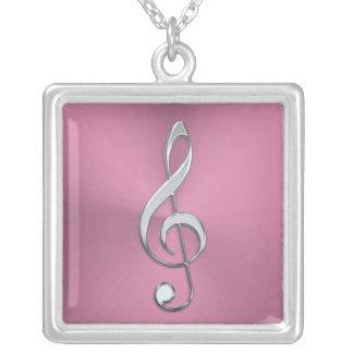 Rosa und Silberdreifacher Clef-Halskette Versilberte Kette