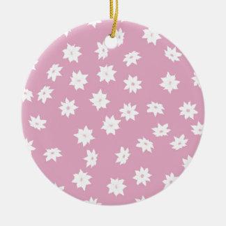 Rosa und weiße Blumen Keramik Ornament