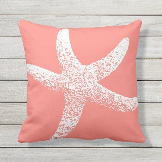 rosa und wei e starfish wurfs kissen im freien kissen f r drau en. Black Bedroom Furniture Sets. Home Design Ideas