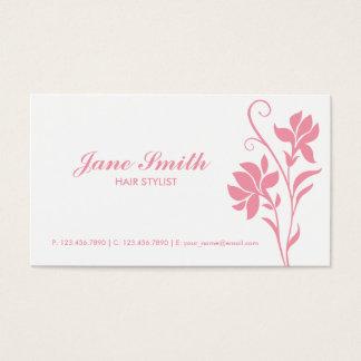 Rosa-und weißeelegante moderne Blume mit Blumen Visitenkarten