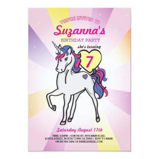 Rosa Unicorn-Regenbogen-Geburtstags-Party-Mädchen 12,7 X 17,8 Cm Einladungskarte