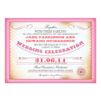Rosa Vintage Hochzeitseinladungen - Karten 12,7 X 17,8 Cm Einladungskarte