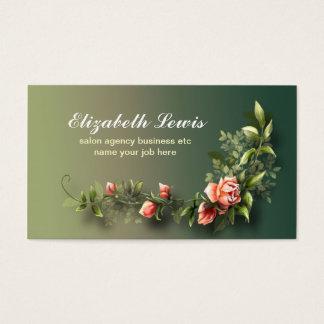 Rosa Vintager Rosen-Blumenstrauß elegant Visitenkarte