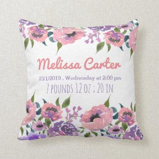 Rosa Watercolor-Blumen-Baby-Geburts-Mitteilung Zierkissen