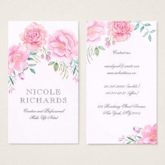 Rosa Watercolor-Blumen-Blumenstrauß-elegante Visitenkarten