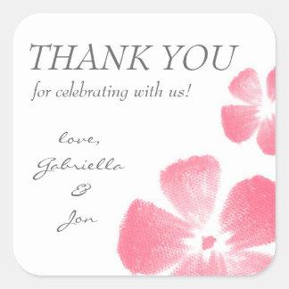 Rosa Watercolor-Blumen danken Ihnen Aufkleber