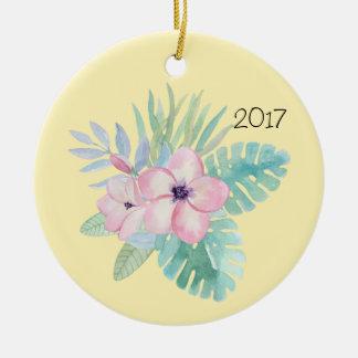 Rosa Watercolor-Blumen w/Leaves Rundes Keramik Ornament