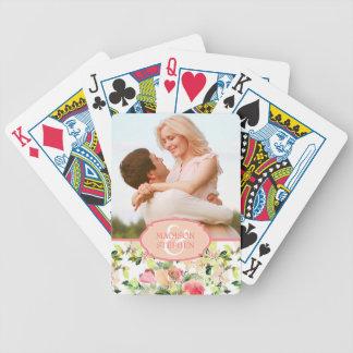 Rosa Watercolor-Blüten-Muster - Hochzeits-Foto Poker Karten