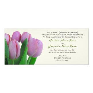 Rosa Wedding Tulpen - von den Eltern der Braut 10,2 X 23,5 Cm Einladungskarte